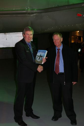 Don Simms making the presentation to Owen Moore